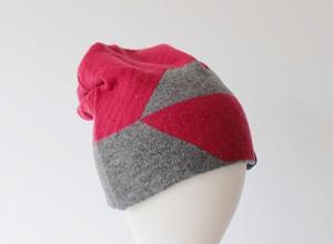 % PERCENT ニット帽 (秋冬用・リバーシブル)レッド80%・グレー20%(男女兼用)/セルフヒーター・ホールガーメント