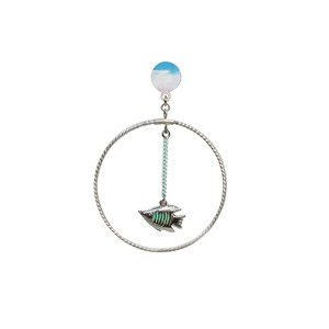 Planet Earth Circle Pierce  -Green Fish-