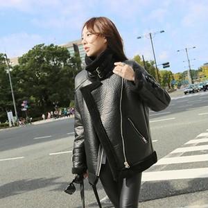 【アウター】ファッション折り襟ショート丈スエードジッパージャケット35831504
