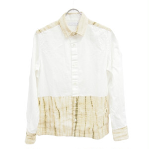 ユニーク×伝統工芸 有松絞り生地を使用したオックスフォード メンズシャツ ベージュ