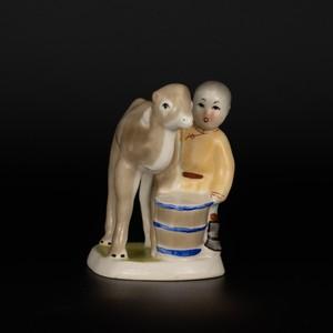 遊牧民とラクダ置物/インテリア・モンゴル・陶器/モンゴル雑貨