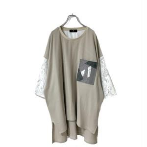 Slit-T-shirts1.2 Pocket (light beige/grey)