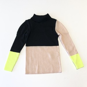 【20AW】フランキーグロウ ( frankygrow ) MULTICOLOR SWELL SHOLDER HIGH-NECK KNIT[ S / M / L ]black pink yellowトップス タートルニット