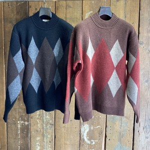 FACTOTUM ファクトタム / 7G Argyle High neck Knit