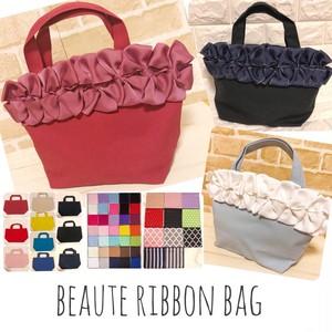 116【選べる10色★Beaute Ribbon Bag】リボン ハンドメイド フォーマル キャンバストートバッグ