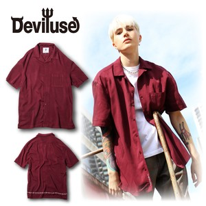 Deviluse(デビルユース) | Open Collar Shirts (Wine Red)