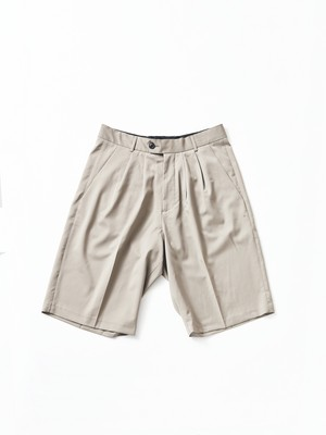 "Lownn ""Wide Short"" Double Pleated Short Taupe S-887-601"