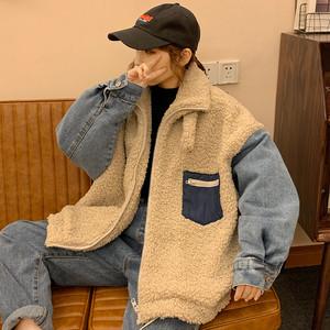 【アウター】韓国系配色切り替えファスナースタンドネックコート25615319