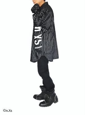 リラックスフィットシャツ  タータンストライプ BLACK&SILVER