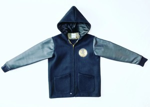 18AW 袖レザーヘビーメルトンファラオジャケット / Leather sleeve heavey melton pharaoh jacket