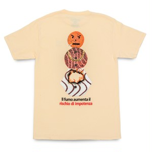 QUARTERSNACKS / SMOKERS WARNING SNACKMAN TEE -NATURAL-