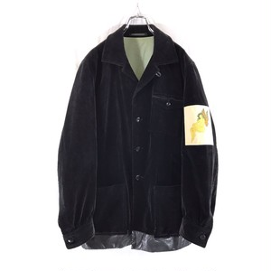 YOHJI YAMAMOTO POUR HOMME CORDUROY JACKET LEATHER SWITCHING / PRINTED PATCHI