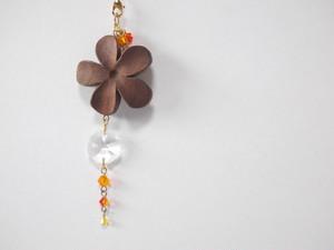 【Y-30】お花の帯飾り(根付け)《橙色》