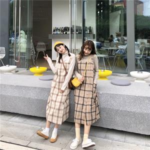 ワンピース カジュアルチェック柄 サロペット ストラップワンピース 韓国ファッション m170 05