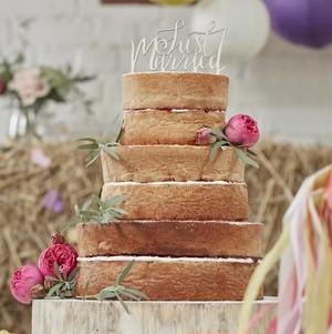 【GingerRay/イギリス】木製ウェディングケーキトッパー Just Married 結婚式 ブライダル