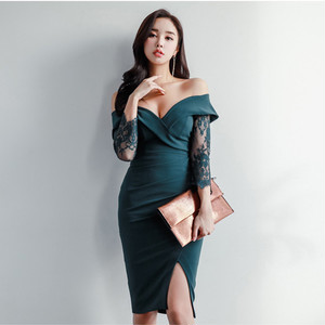 【ワンピース】上品な印象ファッション無地セクシーワンピース16824915