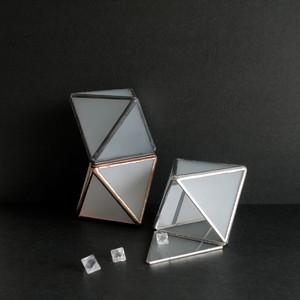 結晶構造ガラスケース [ Fluorite,正八面体 / 磨りガラス ]