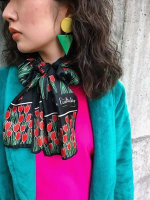 Vintage Diane von Furstenberg Black floral silk scarf ( ヴィンテージ ダイアンフォンファステンバーグ ブラック チューリップ柄 シルク スカーフ