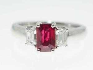 【D0.255Cts R1.16ct】PT900 ルビーダイヤモンドリング