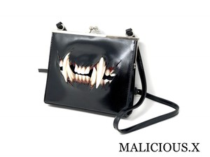 cat fang square metal clasp shoulder bag