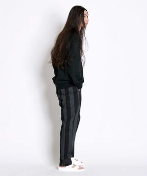裾配色ストライプパンツ(ブラック)