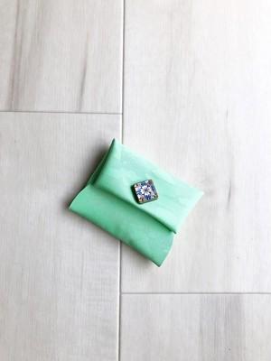 ポップな革小物 アクセサリーケース 小物入れ 本革 レザー メロン グリーン モロッコタイル風 ダマスク柄