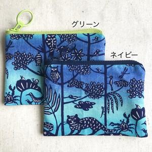 ぺったんこポーチ S 紅型デザイン 琉球の森 青グラデーション