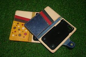 【オプション】iPhone android Xperia galaxy 手帳型スマホケース ドット柄