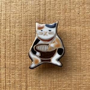 ごますり猫(帯留・ブローチ)