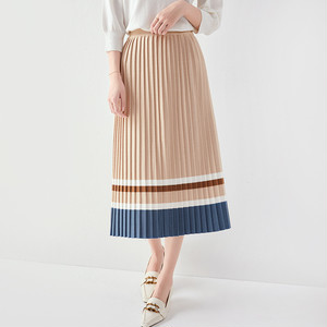 【ボトムス】韓国の人気爆発! ハイウエスト Aライン 配色 ギャザー飾り スカート43400369