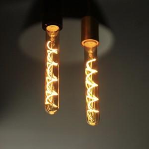 【調光器対応】E26 エジソンバルブ LED スパイラル ロングチューブゴールド