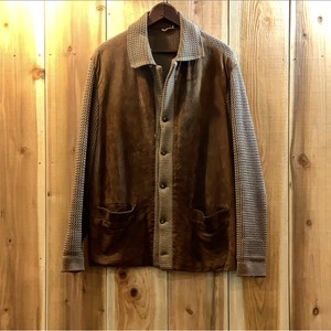 60-70's Euro vintage leather × knit!