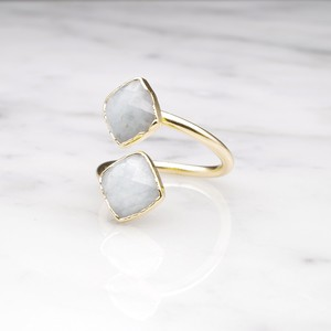 DOUBLE STONE OPEN RING GOLD 047