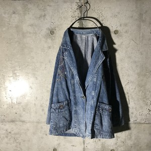 [used]embroidery denim jacket