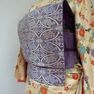 正絹 紫に七宝の袋帯