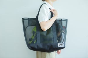 自立する コーデュラ × メッシュ の ビーチバッグ プールバッグ サマーバッグ トートバッグ all ブラック