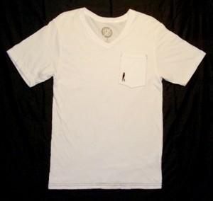 PLAIN JANE HOMME CASANOVA V-NECK POCKET Men's Tシャツ オーガニックコットン100% (WHITE)