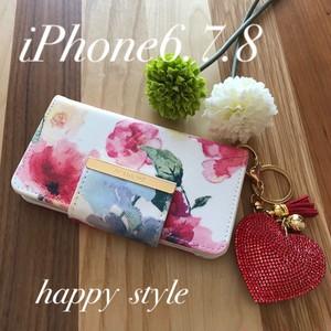 水彩花柄 iPhone6.7.8共通手帳型ケース✨きらきらハートホルダー付き