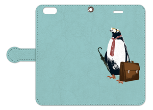 [手帳型iPhoneケース] business penguin