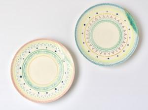 レインボー丸平皿B,18cm【黄色ピンク/黄色ブルー】