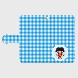 手帳型ケース AndroidSサイズ用 ギンガムチェック柄