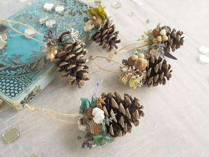 クリスマスオーナメント5個セット<green> * クリスマスツリー・ガーランド・プリザーブドフラワー・1点もの