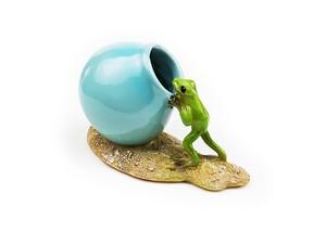 カエルオブジェ 小さな花瓶 丸いミニポットと蛙