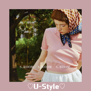 【即日発送】frilled collar short sleeve knitted swearer・HX5982