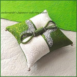 緑と白の2色の市松柄和風リングピロー