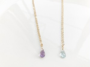 Pinkamethyst skyblue topaz necklace