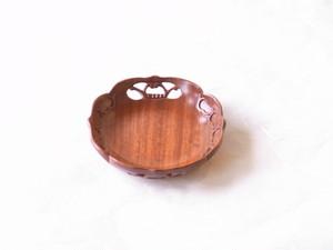 日本製 紅木(こうぼく)急須台 丸 うるし塗