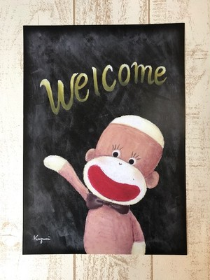 チョークアートポスター(ウェルカムソックモンキー)- A4