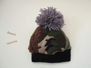 ぽんぽんニット帽 ☆ カモフラージュ × ボーダー グレー