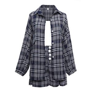 2021SS キャミソール付きチェック柄ジャケットシャツ+パンツセットアップ S1757